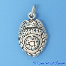 POLICE OFFICER BADGE .925 Solid Sterling Silver Charm