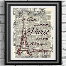 Diccionario Art Print Paris Torre Eiffel Francia cita el amor romántico Decoración