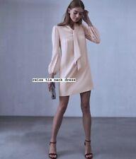 Reiss Tie Neck Shirt Dress Nude RRP $595 UK 10 / 12