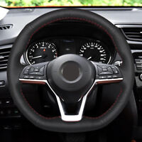 Black Red Genuine Leather DIY Car Steering Wheel Cover for Nissan Rogue Kicks