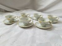KPM Germany Demitasse Cups and Saucers Hand Painted Rose Leaves Set of 6 Vintage