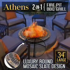 34 Inch Slate Top 2in1 Firepit BBQ Grill Cook Top Outdoor Garden Heater Fire Pit