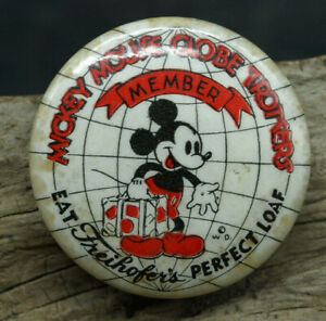 "1930s MICKEY MOUSE GLOBE TROTTERS Freihofer's 1.25"" pinback button (J3)"