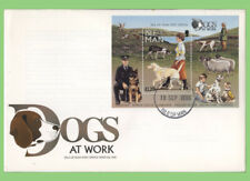 Isle of Man 1996 Dogs miniature sheet on First Day Cover, Peel