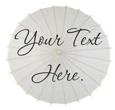 Wedding Parasol Umbrella Text Party Sign White Ivory Photo Prop Custom Ceremony