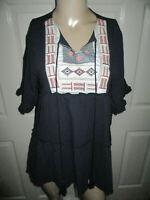 Easel Blouse Womens Small Boho Ruffle Tunic 100% Cotton Gauze Embroidered Navy