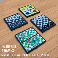 Magnetic Travel Board Games set of 4 - Ludo, Chess, Draught, Snake & ladder