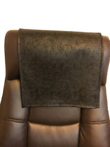 Recliner Head Rest Cover Vinyl Black Floral Embossed  14x30 Sofa Love seat