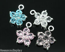 60 Mixed Silver Plated Rhinestone Flower Charm Pendants