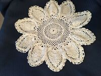 Vintage White  Hand Crocheted Doily 12 inches Pineapple design