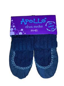 Schuhsocken Shoesocks Socken Stricksocken Leder Echtleder Hausschuhe 38 39 42