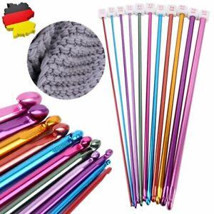 11er Aluminum Häkelnadel Tunesische Stricknadel 27cm lang Nadeln Set Mehrfarbig