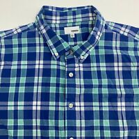 Sonoma Button Up Shirt Men's 2XL XXL Short Sleeve Blue Plaid Casual 100% Cotton
