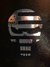 2 PUNISHER CHROME AMERICAN FLAG SNIPER FUNNY SKULL DIE VINYL DECAL STICKER JDM