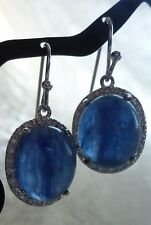 Beautiful KYANITE Oval Hanging Earrings With Cubic Zirconias