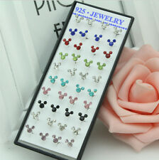 40pcs/Box Fashion Colorful Mickey Mouse Woman's Rhinestone Ear Stud Earrings