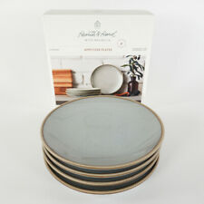 Blue Stoneware Reactive Exposed Rim Appetizer Plate Set of 4 - Hearth & Hand