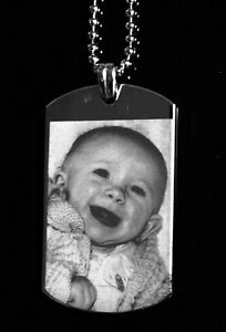 Precision Engraved Stainless Steel Large Rectangular Photo Pendant