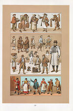 Vintage Moda Costume Stampa ~ Inghilterra Individual Trade Postman Pompieri
