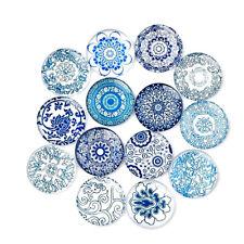 50pcs 8mm Mixed Blue and white Porcelain Round Glass Cabochon Flatback DIY
