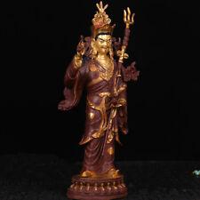 """11"""" Antique Tibet Buddhism copper gilt hand painting Padmasambhava Buddha statue"""