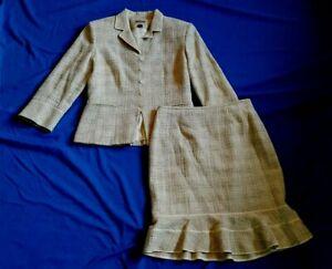 Womens Skirt Suit-KASPER-cream/beige/brown tweedy cotton/rayon lined ls-2P