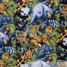 BonEful Fabric FQ Cotton Quilt Africa*n Safari Jungle Zoo Animal Baby Koala Bear