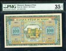 1943 MOROCCO, BANQUE D' ETAT 100 FRANCS PMG 35 NET PCK 27 PLEASE LQQK*