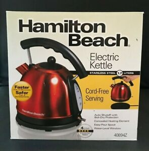 Hamilton Beach Red Electric Kettle 10 Cup 1.7 Litter Stainless Steel 40894 Used