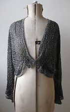VTG 1920s 1930s Art Deco flapper silver beaded black tulle evening jacket top.