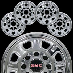 """4 New GMC Sierra 2500 3500 HD 18"""" 8 Lug CHROME Wheel Skins Rim Covers Hub Caps"""