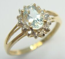BESTJEWELLERY 10KT YELLOW GOLD NATURAL AQUAMARINE & DIAMOND RING  SIZE 7   R972