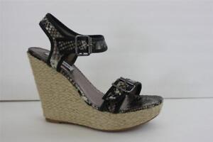 Women's Steve Madden Size 8.5 / 9.5 M Black Multi Platform Wedge Shoe Sandal NIB