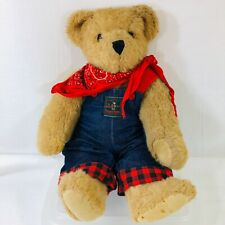 "Vermont Teddy Bear Company Articulated Jointed 16"" Denim Plaid Overalls Bandanna"