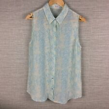 Equipment Large Blouse Light Blue Ivory Reptile Print 100% Silk *SeeCondition*