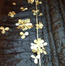 RINGLEY HOME COLLECTION BLACK SATIN GOLD PETALS SINGLE BEADSPEAD 190X 260 BNB