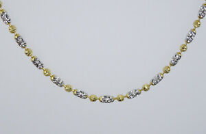 """FANCY ITALIAN 2-TONE SOLID 14K GOLD 2mm TEXTURED LINK NECKLACE 16"""" / 5.2g"""