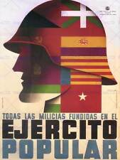 WAR PROPAGANDA SPANISH CIVIL REPUBLICAN MILITIA SPAIN VINTAGE AD POSTER 2820PY