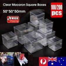 200pcs Clear Macaron Square Boxes Bomboniere Wedding Favour Baby Shower 5x5x5 cm