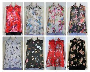 Women's printed shiffon sleeveless collar shirt blouse, Plus Size 14-28