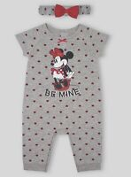 DISNEY BABY Minnie Mouse Baby Girl Short Sleeve One Piece Romper Set Size 6-9 M