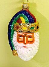"Patricia Breen Sparkle Plenty Rainbow Santa Head & Hat 2003 #2352 Glass 4.5"""