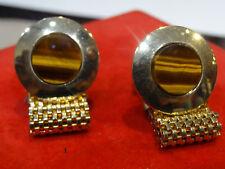 Vintage Estate Mesh Wrap Shirt Gold tn Cufflinks tigers eye stone