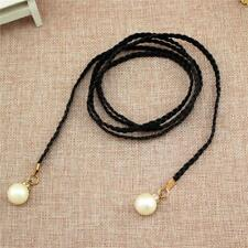 Women Ladies Pearl Belt Self-tie Waist Rope Braided Knot Belt Supplies FI