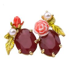 Les Nereides Bloomed Rose Rosebud Burgundy Faceted Glass Stud Earrings