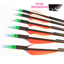 12Pk Spine 500 Carbon Arrows For Archery Hunting With Extra 12pcs Field Points