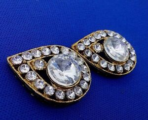 Pretty Vintage Rhinestone Gold Metal Antique Buttons,Fashion Sewing Craft by 2pc