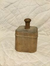 VERY COOL ANTIQUE PRIMITIVE SQUARE WOOD BUTTER MOLD WITH SHEAF OF WHEAT.