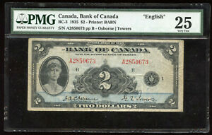 1935 Bank of Canada $2 English Issue - BC-3 - PMG VF25 - S/N: A2850673/B