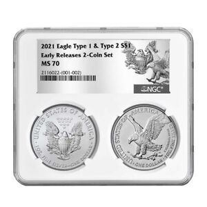 2021 $1 Type 1 and Type 2 Silver Eagle Set NGC MS70 ER T1 T2 Label